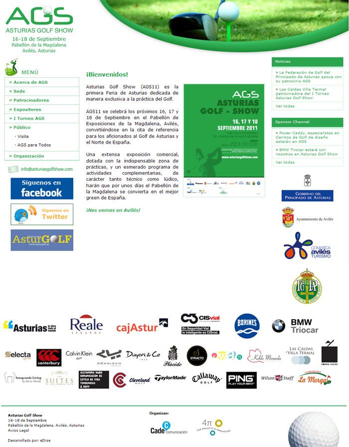 Web de Asturias Golf Show - Edise Soluciones: diseño y desarrollo de páginas Web