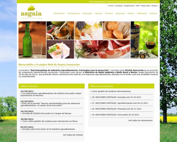 Portal Web de Asgaia Innovación - Edise Soluciones: diseño y desarrollo de páginas Web