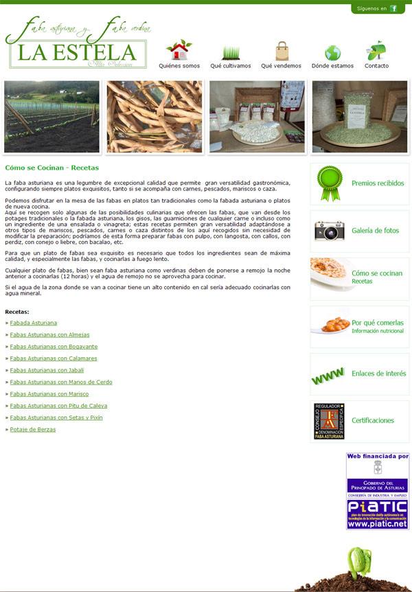 Página Web de Fabas La Estela - Edise Soluciones: diseño y desarrollo de páginas Web