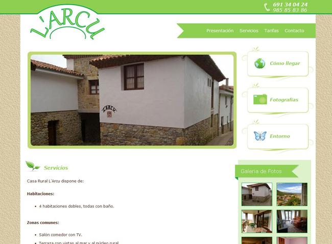 Página Web de Casa L´arcu - Edise Soluciones: diseño y desarrollo de páginas Web
