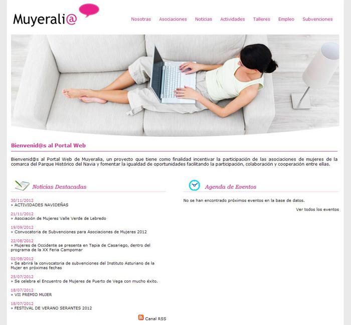 Portal Web de Muyeralia - Edise Soluciones: diseño y desarrollo de páginas Web