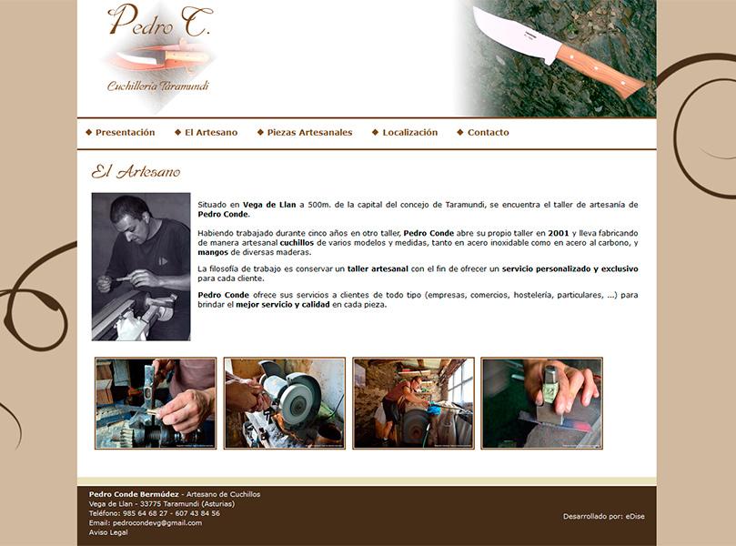 Página Web del Artesano Pedro Conde, Taramundi - Edise Soluciones: diseño y desarrollo de páginas Web
