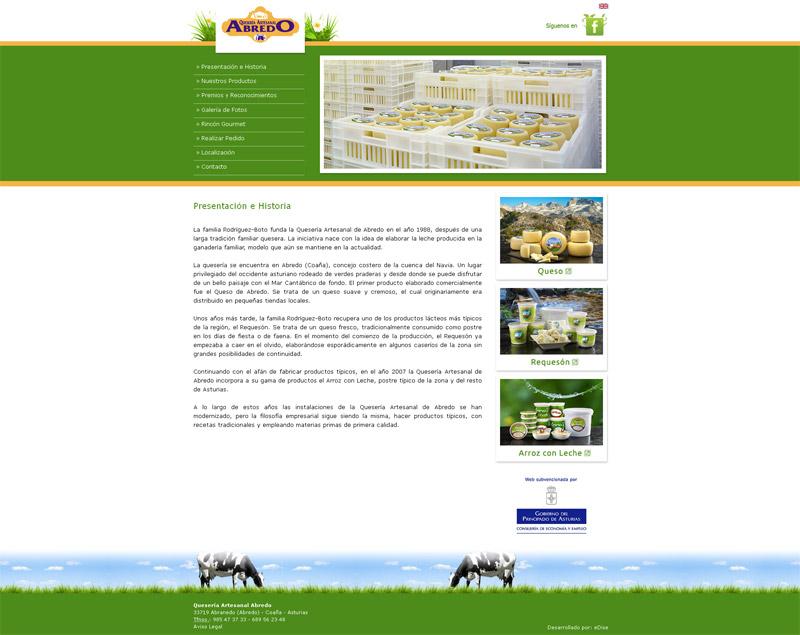 Página Web Quesería Artesanal de Abredo