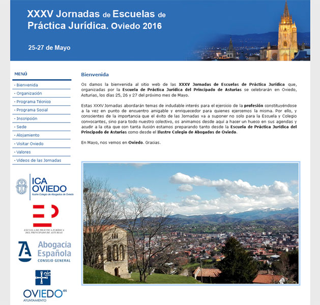 Página Web XXXV Jornadas de Escuelas de Práctica Jurídica - Edise Soluciones: diseño y desarrollo de páginas Web