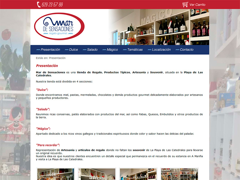 Página Web Mar de Sensaciones - Edise Soluciones: diseño y desarrollo de páginas Web