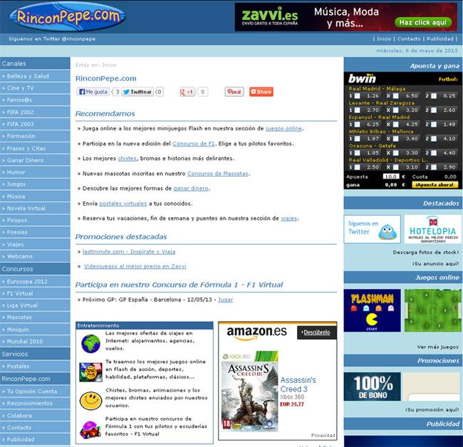 Portal de Ocio y Entretenimiento RinconPepe.com - Edise Soluciones: diseño y desarrollo de páginas Web