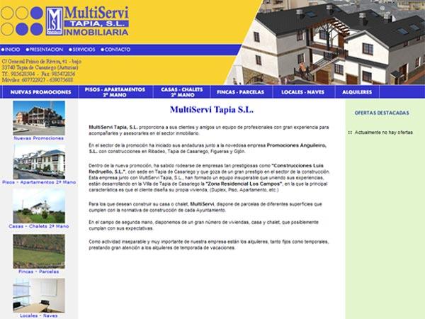 Página Web de la Agencia Inmobiliaria MultiServi Tapia - Asturias - Edise Soluciones: diseño y desarrollo de páginas Web