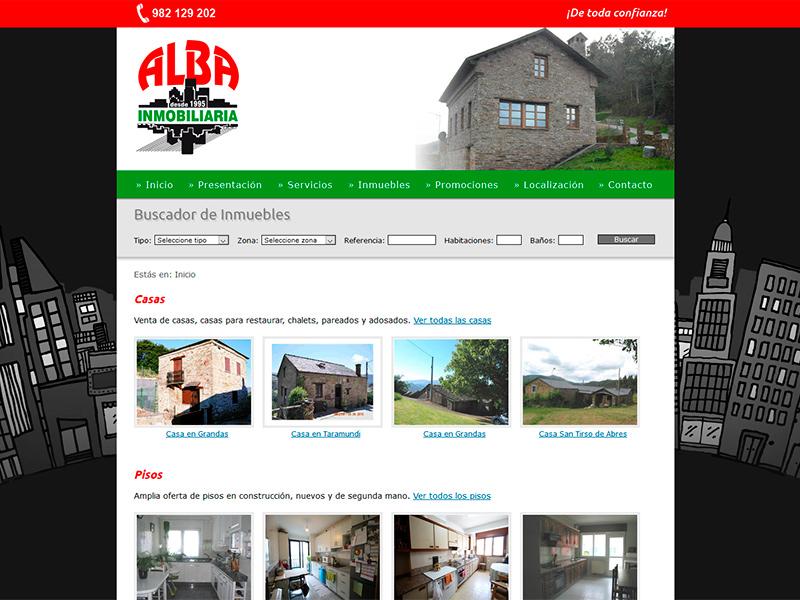 Página Web de Alba Inmobiliaria - Edise Soluciones: diseño y desarrollo de páginas Web