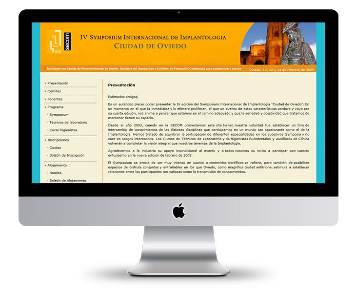 Página Web del IV Symposium Internacional de Implantología