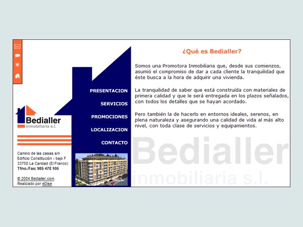 Página Web de la Promotora Inmobiliaria Bedialler - Edise Soluciones: diseño y desarrollo de páginas Web