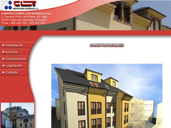 Página Web de Construcciones Luis Redruello situada en Tapia - Asturias - Edise Soluciones: diseño y desarrollo de páginas Web