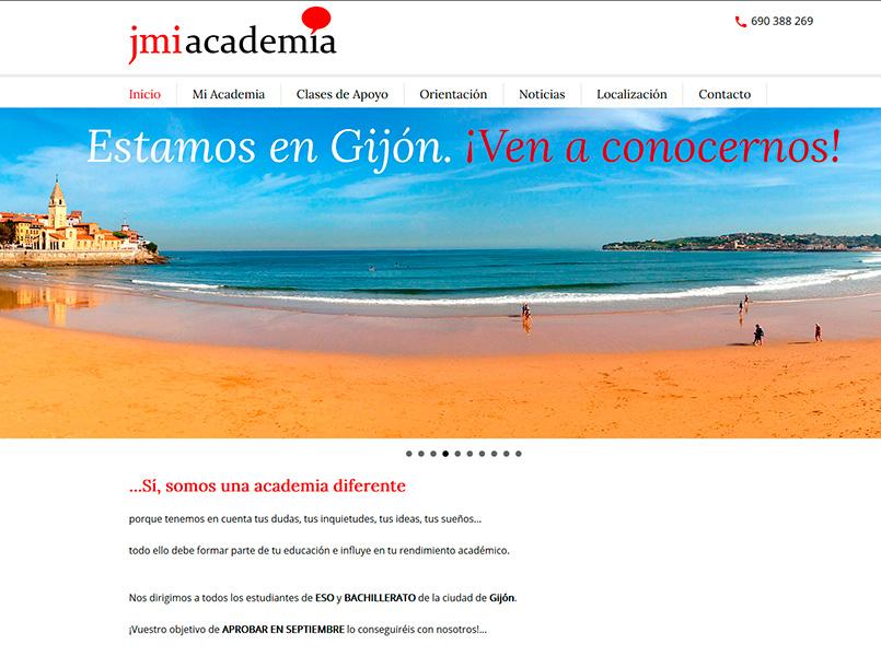 Página Web de JMI Academia situada en Gijón - Edise Soluciones: diseño y desarrollo de páginas Web