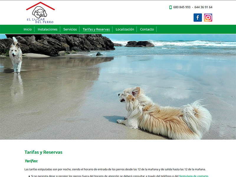 Página Web de la Residencia Canina El Lugar del Perro en Castropol - Edise Soluciones: diseño y desarrollo de páginas Web