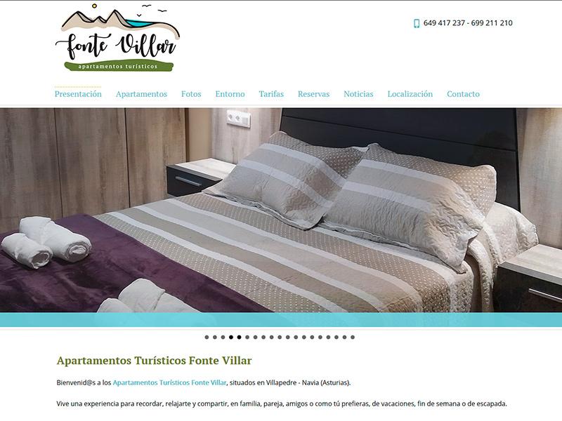 Página Web de los Apartamentos Turísticos Fonte Villar en Villapedre - Asturias