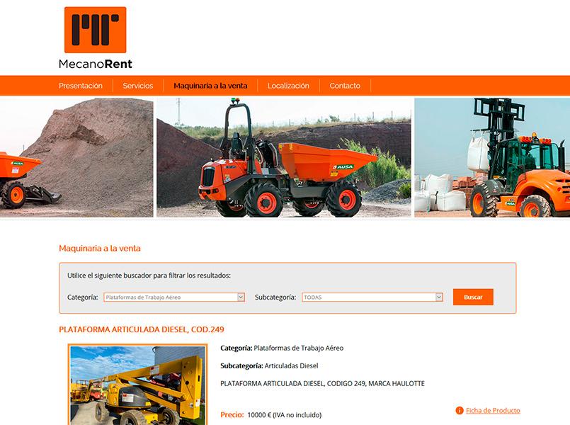 Página Web con Catálogo de Productos de la empresa Mecano Rent - Edise Soluciones: diseño y desarrollo de páginas Web
