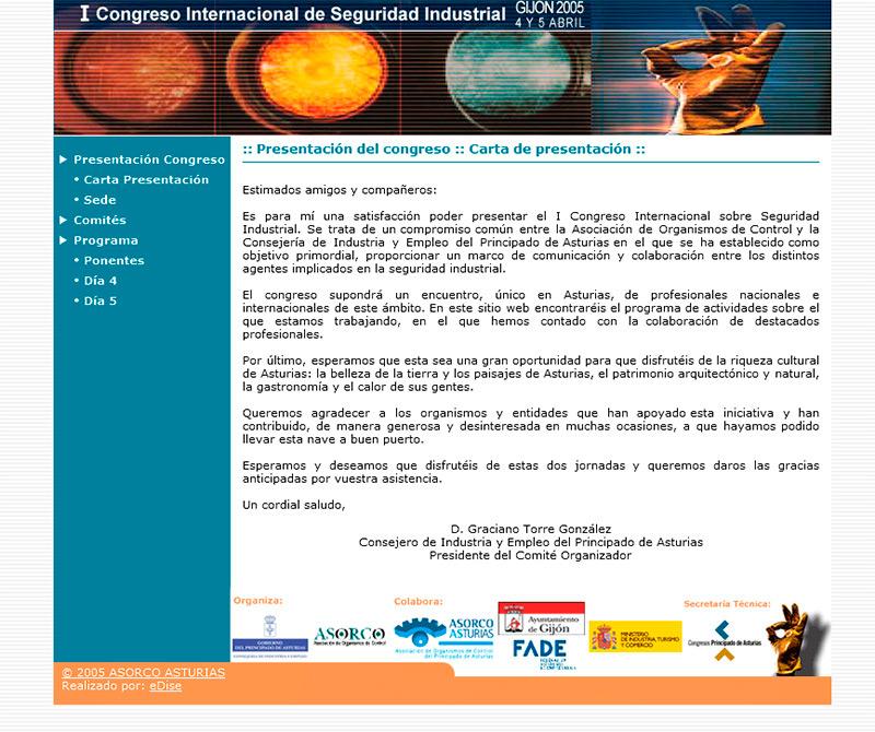 Congreso de Seguridad Industrial - Edise Soluciones: diseño y desarrollo de páginas Web