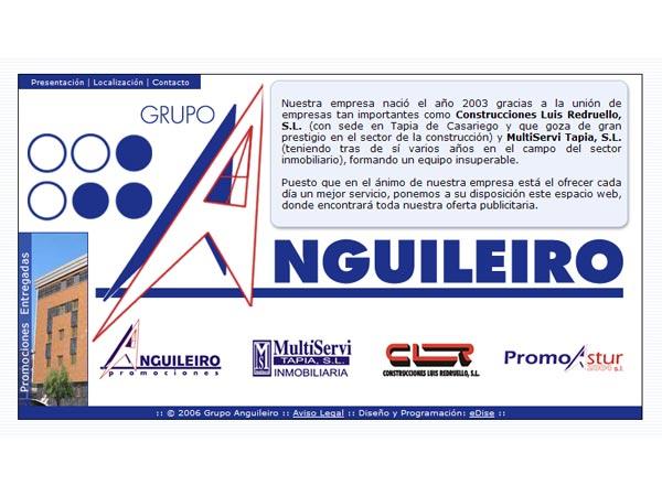 Página Web de la Promotora Inmobiliaria Grupo Anguileiro situada en Tapia - Asturias - Edise Soluciones: diseño y desarrollo de páginas Web