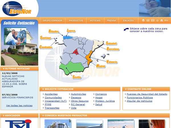 Portal Web del Grupo Espanor - Edise Soluciones: diseño y desarrollo de páginas Web