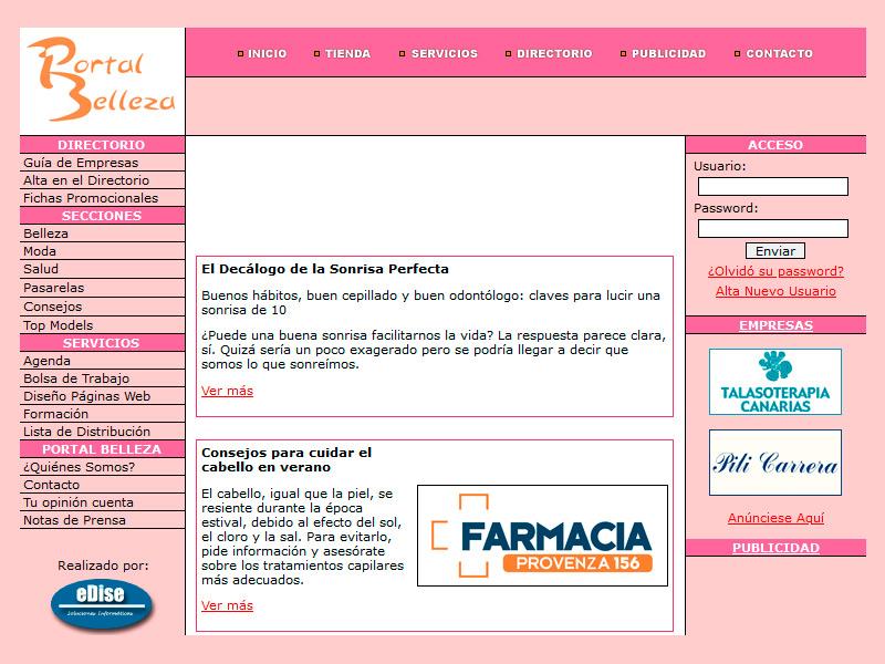 Portal Belleza - Edise Soluciones: diseño y desarrollo de páginas Web
