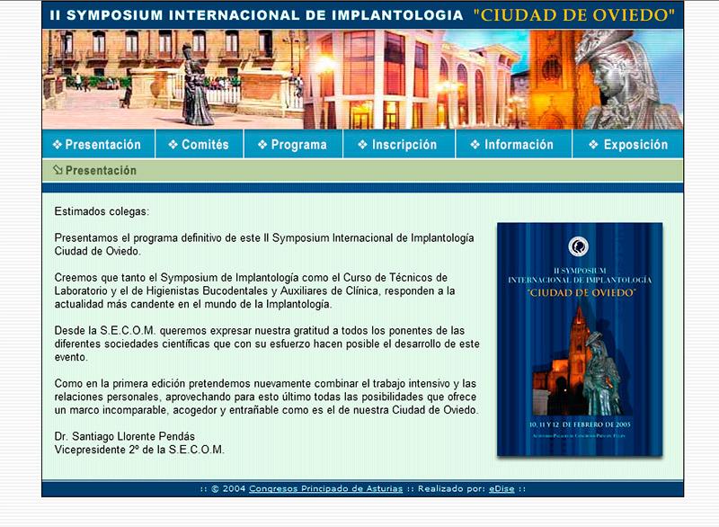 II Symposium Internacional de Implantolog�a - Edise Soluciones: diseño y desarrollo de páginas Web