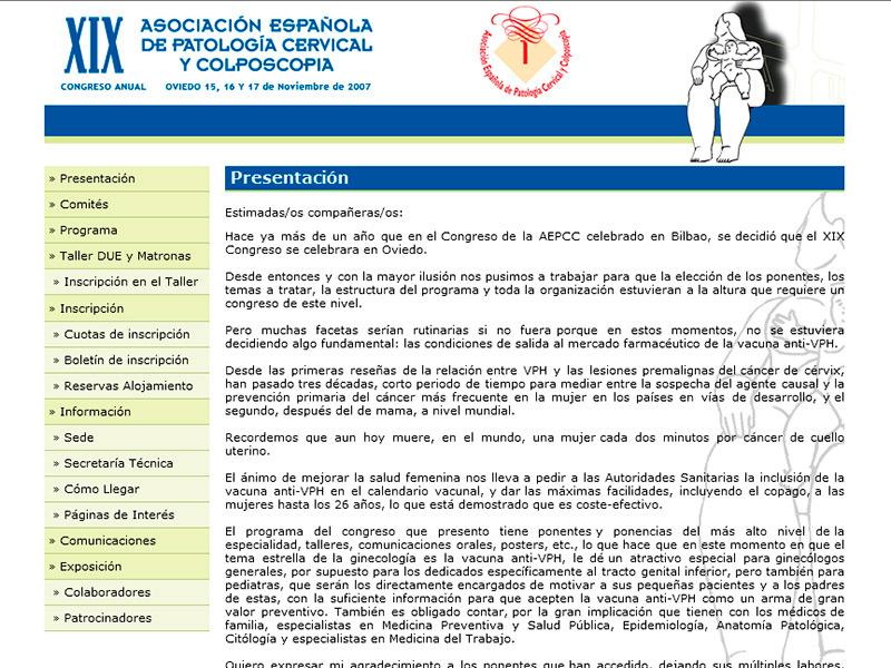 Web del XIX Congreso Anual de la Sociedad Española de Patología Cervical y Colposcopia