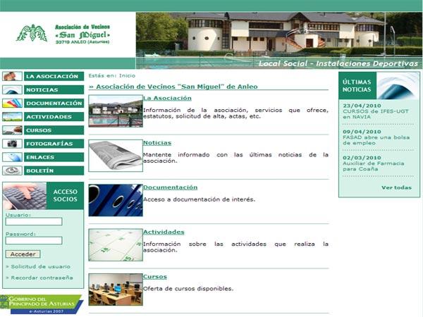 Web de la Asociación de Vecinos San Miguel de Anleo