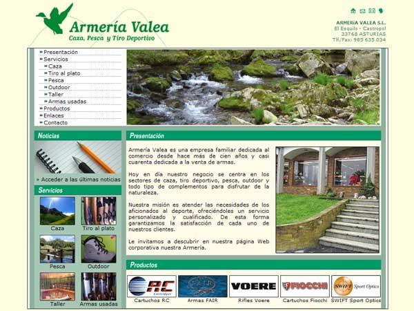 Página Web de Armería Valea - Castropol - Asturias - Edise Soluciones: diseño y desarrollo de páginas Web