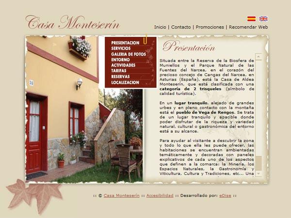 Casa Monteserín - Cangas del Narcea - Asturias - Edise Soluciones: diseño y desarrollo de páginas Web