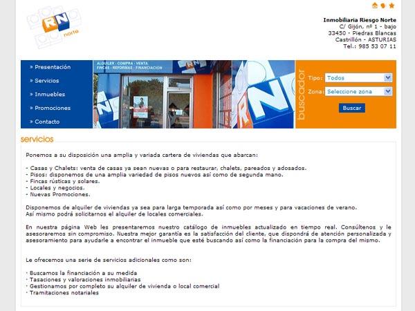 Web de la Inmobiliaria RN situada en Piedras Blancas - Asturias - Edise Soluciones: diseño y desarrollo de páginas Web