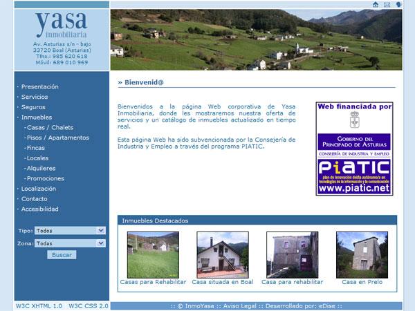 Página Web de Yasa Inmobiliaria - Boal - Asturias - Edise Soluciones: diseño y desarrollo de páginas Web