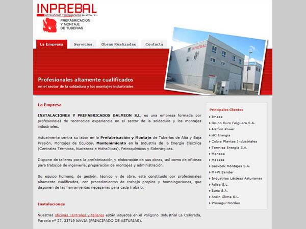 Página Web de INPREBAL - Edise Soluciones: diseño y desarrollo de páginas Web