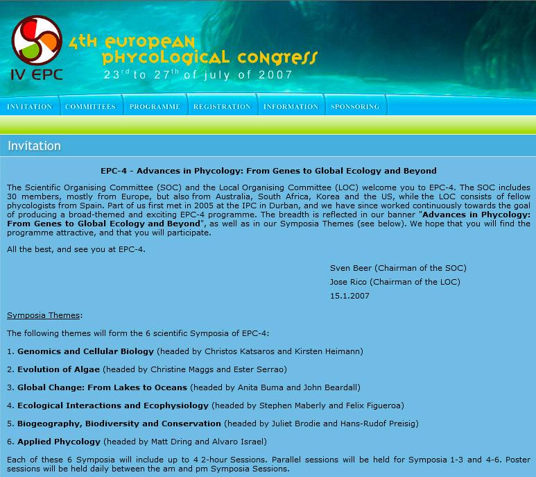 Congreso Europeo de Ficología - Edise Soluciones: diseño y desarrollo de páginas Web