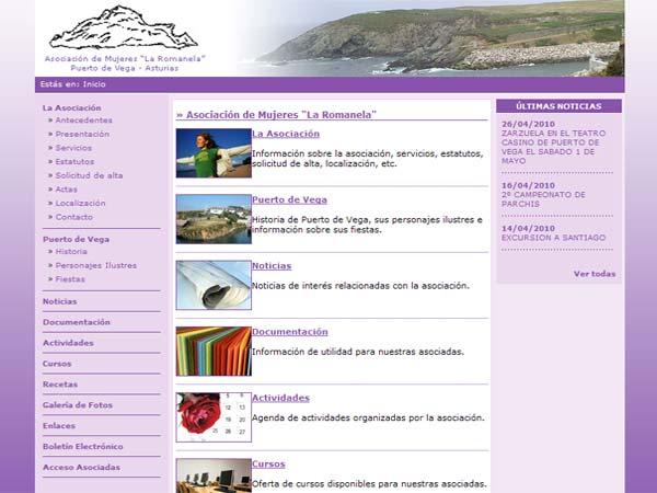 Asociación de Mujeres La Romanela de Puerto de Vega - Asturias - Edise Soluciones: diseño y desarrollo de páginas Web