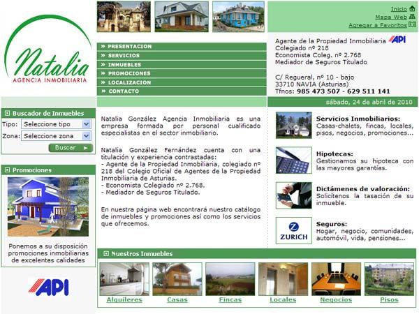 Web de Natalia González Agencia Inmobiliaria situada en Navia - Asturias - Edise Soluciones: diseño y desarrollo de páginas Web