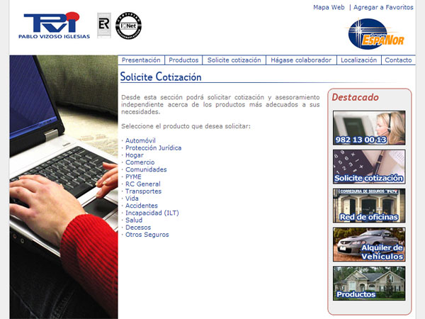 Página Web de PVI Correduría de Seguros S.A. en Ribadeo - Edise Soluciones: diseño y desarrollo de páginas Web
