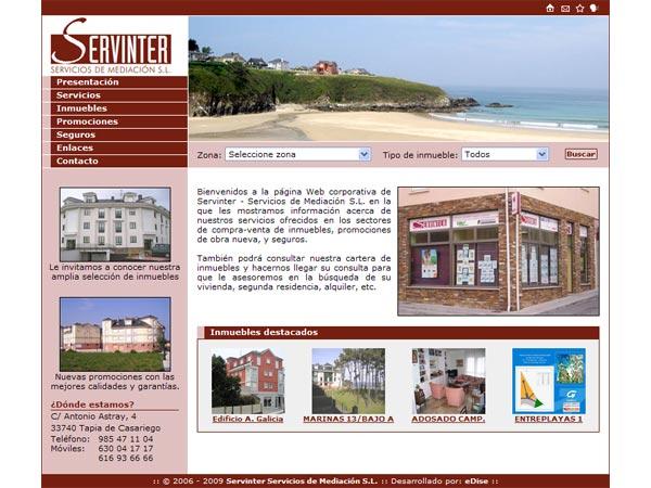 Servinter - Servicios de Mediación S.L. - Tapia de Casariego (Asturias) - Edise Soluciones: diseño y desarrollo de páginas Web