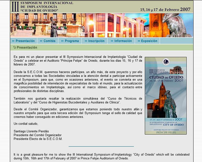 III Symposium Internacional de Implantolog�a - Edise Soluciones: diseño y desarrollo de páginas Web