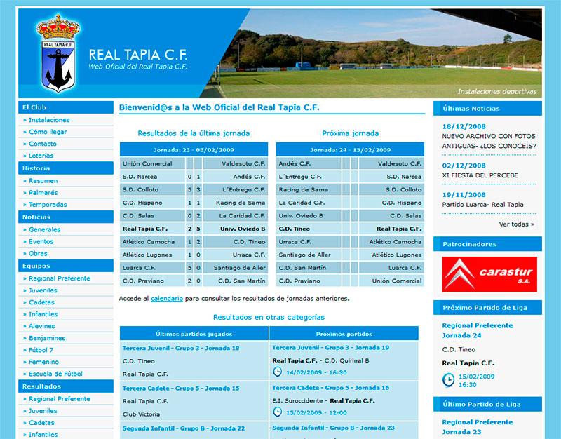 Página Web del Equipo de Fútbol Real Tapia C.F. - Edise Soluciones: diseño y desarrollo de páginas Web
