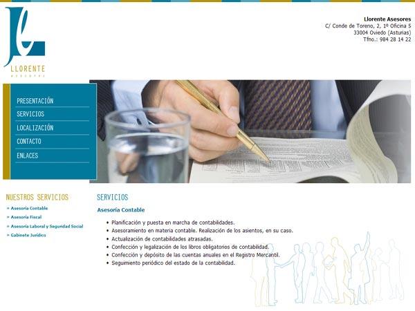 Llorente Asesores - Oviedo - Asturias - Edise Soluciones: diseño y desarrollo de páginas Web
