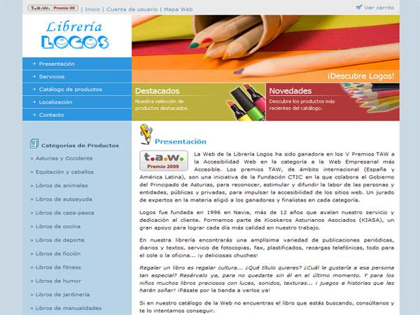 Web de la Librería Logos situada en Navia - Asturias - Edise Soluciones: diseño y desarrollo de páginas Web