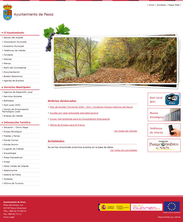 Ayuntamiento de Pesoz - Asturias - Edise Soluciones: diseño y desarrollo de páginas Web
