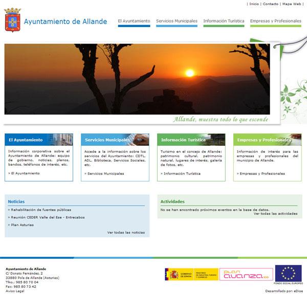 Ayuntamiento de Allande - Asturias - Edise Soluciones: diseño y desarrollo de páginas Web