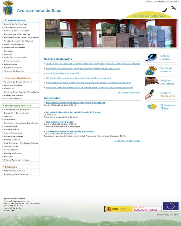 Ayuntamiento de Ibias - Asturias - Edise Soluciones: diseño y desarrollo de páginas Web