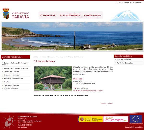 Ayuntamiento de Caravia - Asturias - Edise Soluciones: diseño y desarrollo de páginas Web