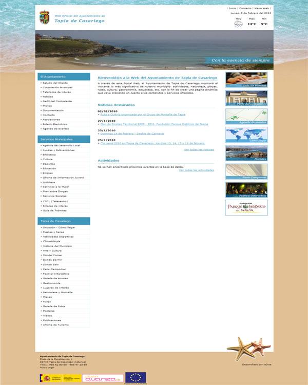 Ayuntamiento de Tapia de Casariego - Asturias - Edise Soluciones: diseño y desarrollo de páginas Web
