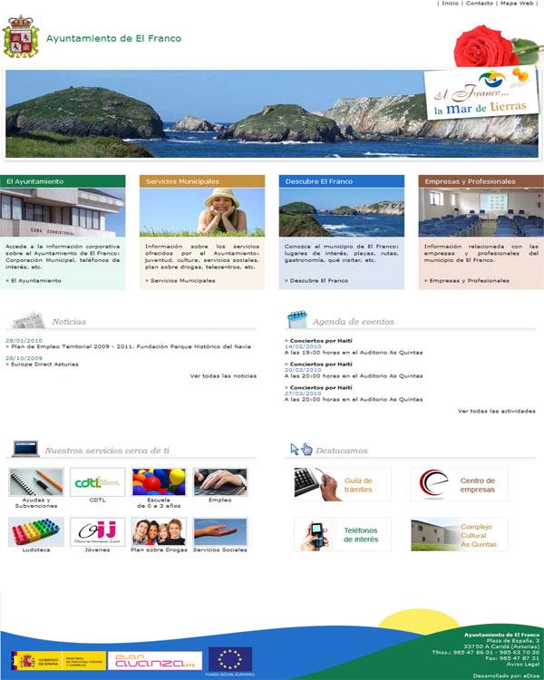 Ayuntamiento de El Franco - Asturias - Edise Soluciones: diseño y desarrollo de páginas Web