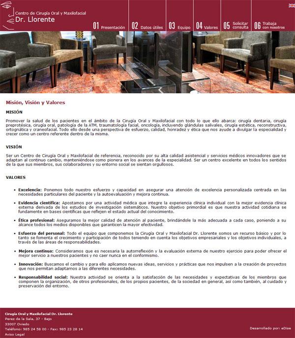 Centro de Cirugía Oral y Maxilofacial Dr. Llorente - Oviedo (Asturias) - Edise Soluciones: diseño y desarrollo de páginas Web