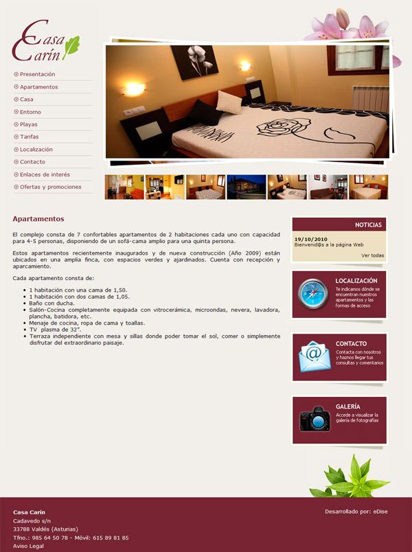 Apartamentos Tur�sticos Casa Car�n - Asturias - Edise Soluciones: diseño y desarrollo de páginas Web