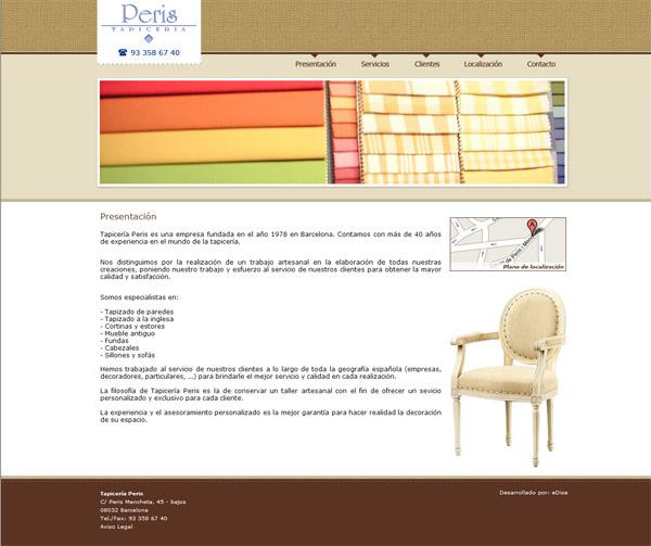 Página Web de la Tapicería Peris situada en Barcelona - Edise Soluciones: diseño y desarrollo de páginas Web