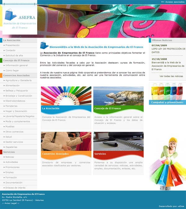 Asociaci�n de Empresarios de El Franco en Asturias - Edise Soluciones: dise�o y desarrollo de p�ginas Web